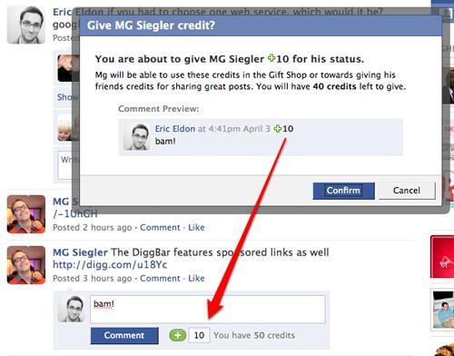 Le système rémunérateur de Facebook : «Crédits»