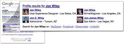 Assurer la recherche de votre nom dans Google